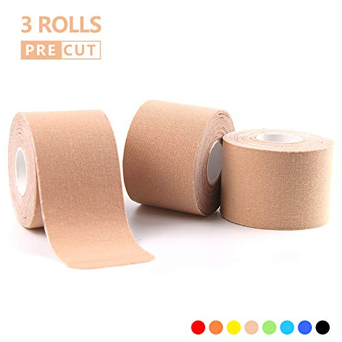 Therapeutic Aids - AUPCON Precut Kinesiology Tape Sports Muscle Tape Breathable Hypoallergenic Latex Free Water Resistant Ideal Pain Relief for Knee Shoulder Elbow Ankle Injury Recovery Therapeutic Aid Beige 3 Rolls