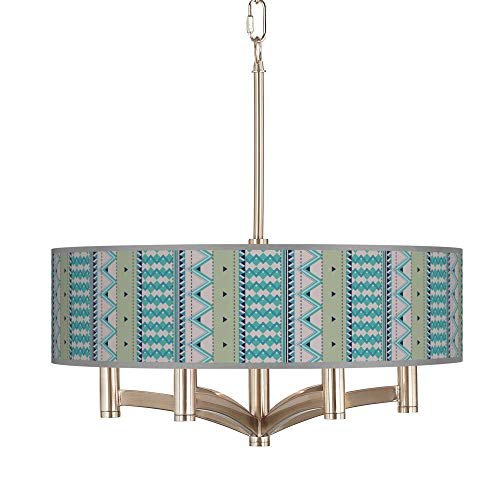 Geo Metrix Ava 6-Light Nickel Pendant Chandelier - Giclee - Nickel Geo Pendant
