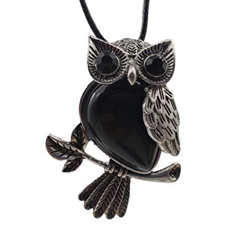 SICHENDZ Owl Necklace Healing Pendant Nekclace for Women Men Spiritual Energy Gemstone Necklace (Black Agate)