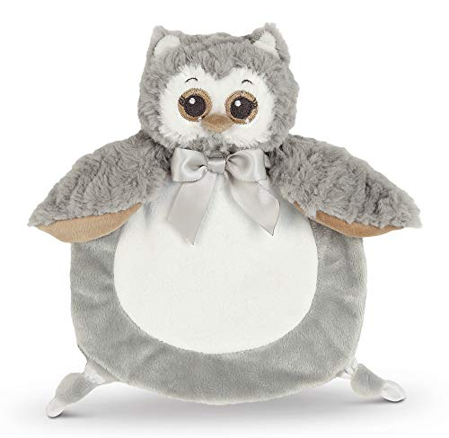 Bearington Baby Wee Owlie, Small Gray Owl Stuffed Animal Lovey Security Blanket, 8