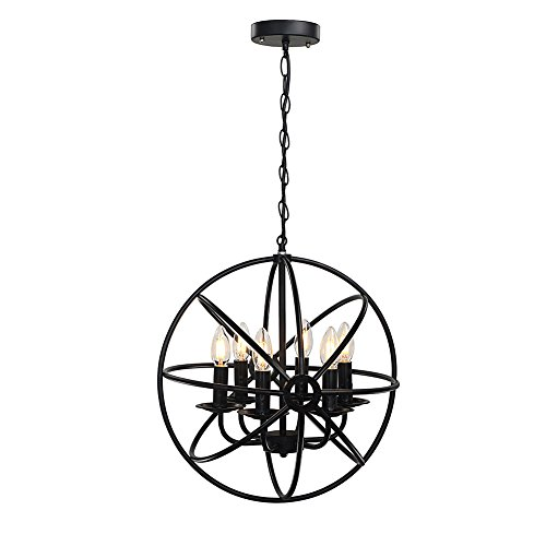 rh ruivast chandeliers lighting pendant light orb industrial ceiling hanging lamp 6light antique black metal tube globe vintage light fixture for kitchen