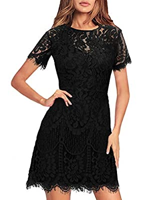 MSLG Women's Elegant Round Neck Short Sleeves V-Back Floral Lace Cocktail Party A Line Dress 910