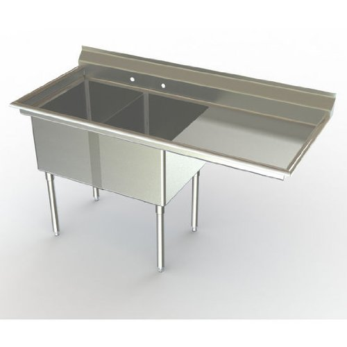 Aero NSF Deluxe Sink, 2-Bowl, With 36 inch Right Hand Drainboard, 30 inch D (Front to Back) X 20 inch W (Left to Right) Bowl