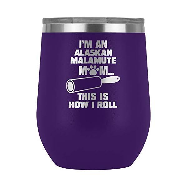 Funny Alaskan Malamute Gifts Wine Tumbler Glass Travel Cup Mom Mama Dog Owner Lover Present J-20U (Purple) 1
