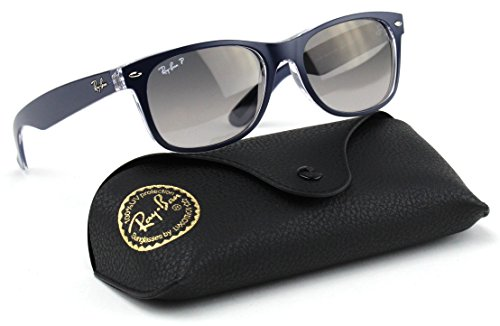 Ray-Ban RB2132 6053M3 NEW WAYFARER Sunglasses Gradient Polarized ( Blue Frame / Gray Gradient Polarized Lens 6053M3 , - Ray Gray Gradient Blue Ban