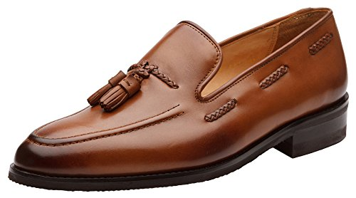 (Dapper Shoes Co. Genuine Leather Handcrafted Men's Classic Braided Tassel Loafer Leather Lined Dress Shoes US7 Burnished Tan)