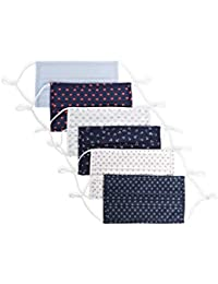 Reusable Pleated Woven Fabric Face Masks (Pack of 6, Assorted Prints and Colors), Assorted - Pleated, One Size