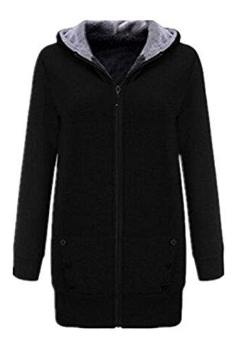 Capucha de Ocasional Casuales el Mujer Jacket Sudadera Abrigo AILIENT Con con Con Sueter Cremallera Blusa Estilo Black Largas Capucha Mangas Coat de xwFqE04
