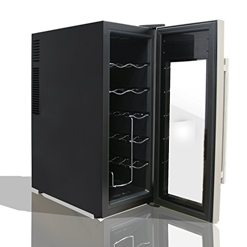 NutriChef 12 Bottle Thermoelectric Wine Cooler / Chiller | Counter Top Red And White Wine Cellar | FreeStanding Refrigerator, Quiet Operation Fridge | Stainless Steel by NutriChef (Image #1)