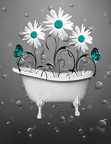 Teal Gray Bathroom Wall Decor, Daisy Flowers, Butterflies, Bubbles, 8x10 Inch Print with 11x14 Inch White Photo Mat *Affordable Gift Ideas for Any Occasion*