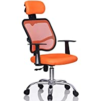 Yaheetech Adjustable Mid-Back Mesh Chair Swivel Office Desk Chair Orange