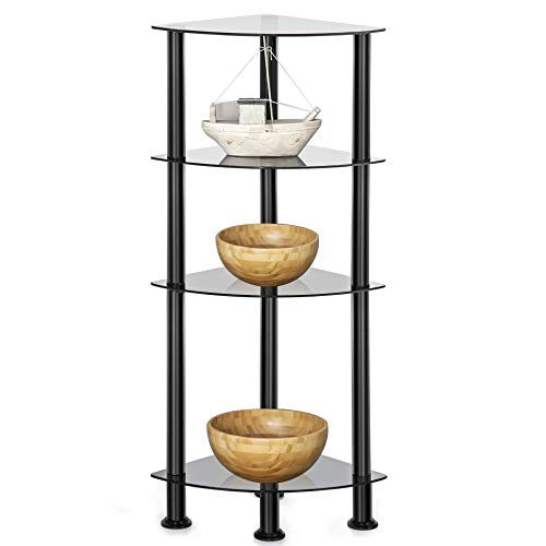 Glass Tempered Bookshelf (FITUEYES 4-Tier Corner Shelf Bookcase Black Tempered Glass Display Rack GS404701GB)
