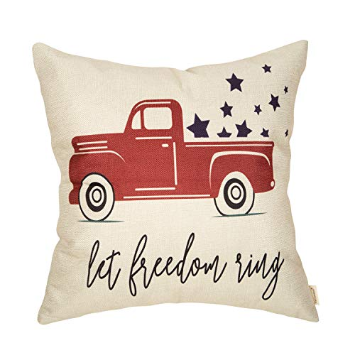 Fahrendom Happy July 4th Farmhouse Home Décor Let Freedom Ring Patriotic Decorative Throw Pillow Cover Vintage Red Truck with Stars Sign Decoration Cotton Linen Cushion Case for Sofa Couch 18 x 18 in]()