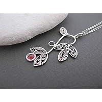 Garnet Necklace, Garnet Silver necklace, Floral necklace, Made in Israel, garnet birthstone, floral jewelry, garnet jewelry, gift for her