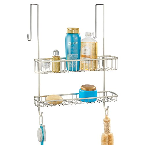 mDesign Wide Over Shower Door Bathroom Tub & Shower Caddy, Hanging Storage Organizer Center - Built-In Hooks, Baskets on 2 Levels for Bathroom Shower Stalls, Bathtubs - Rust Resistant Steel, Satin -