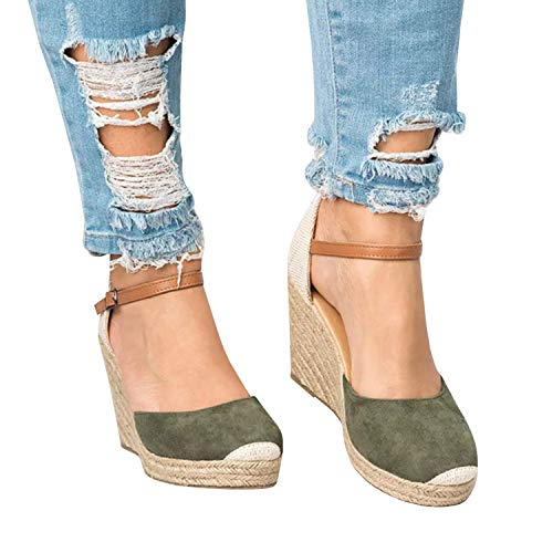 Womens Wedge Espadrille Platform Sandals Closed Toe Ankle Strap Slingback High Heels Sandals Green
