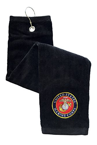 (USMC United States Marine Corps Seal - Embroidered Golf Towel (Black))
