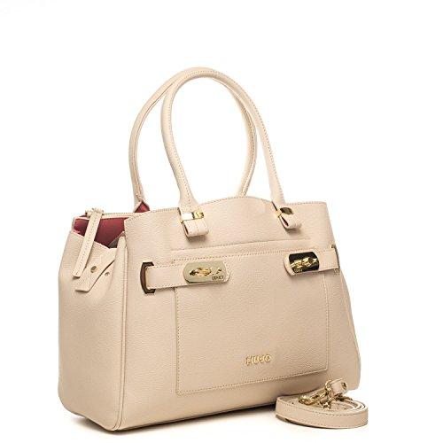 LIU JO NINFEA Borsa shopping a spalla con tasca in ecopelle CHAMPAGNE A17019