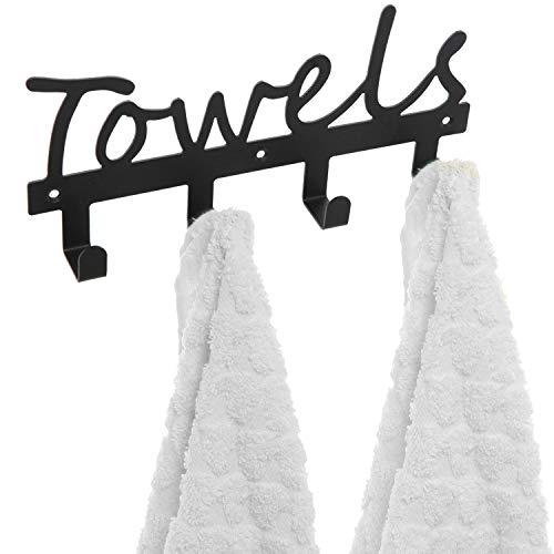 owels Design Wall Mounted Kitchen/Bathroom Storage Organizer Rack w/ 4 Hooks ()