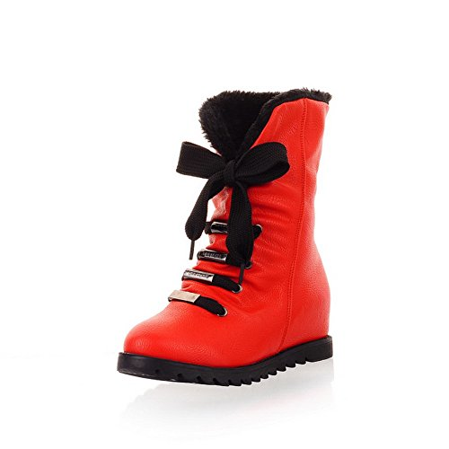 AmoonyFashion Womens Round Closed Toe Kitten Heels Wool Lining Solid Boots with Bandage and Foldable Red bG51qFRexG