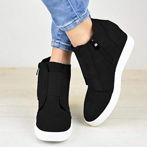 Autumn Boot Trainers High Sale Casual top Zipper Increased Winter Top Wedge Clearance Mixed Ladie High Color OverDose Black Inside And xqSYUIRwn