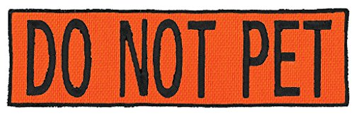 Do Not Pet Embroidered Patch with Border! OVER 50 Fabrics to choose! SAME DAY SHIP! MADE IN THE USA! Sew On or Hook Fastener. Blaze Orange Fabric 4.5