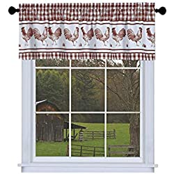 GoodGram Plaid Rooster Window Curtain Valance - Assorted Colors (Red)