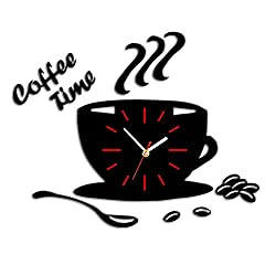 Coffee Time DIY Wall Clock Modern Style 3D DIY Acrylic Clock Stickers Kitchen Dining Room Living Room Decorative Clock Art Home Decoration