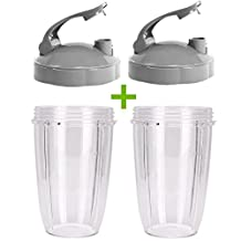 2 Pack NutriBullet 24 OZ Cup with Flip Top To-go Lid Replacement Parts