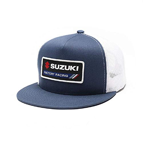 New OEM Factory Effex Suzuki Trucker Snapback Hat Cap - Navy/White P/N 22-86404