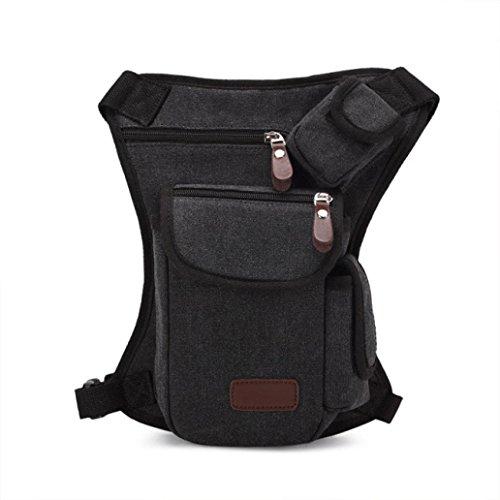 Pocciol Useful Multifunction Outdoor Sport Leg Bag Canvas Waist Bag Money Belt Fanny Pack (Black)