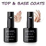 #1: Gellen Gel Nail No Wipe Top Coat Base Coat Set - Home Gel Manicure Long Lasting Super Shiny Kit, 10ml Each
