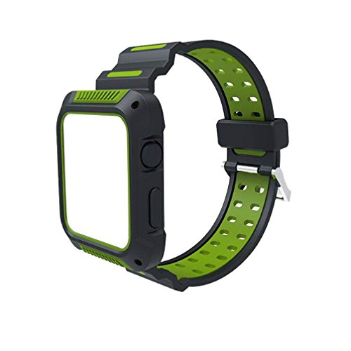 Easytoy Color Patchwork Sports Outdoor Silicone Bracelet Strap Replacement Band 38/42mmFor Apple Watch 1/2/3 (Green, 42 MM)