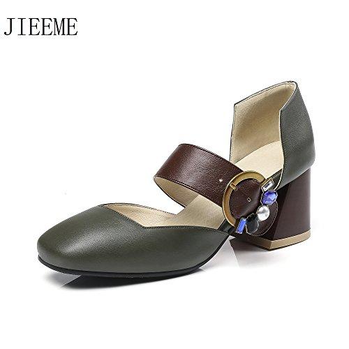Sandali Da Block Ladies Jieeme Donna Strap Scarpe Cristalli Quadrata Punta Heels Fashion Fibbia w7YCYqF