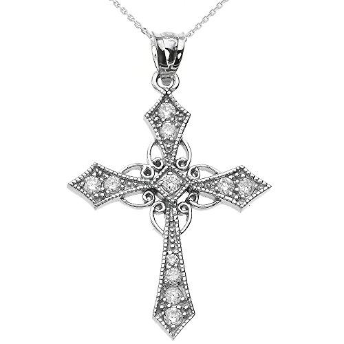 Collier Femme Pendentif 10 Ct Or Blanc Diamant Celtique Croix (Livré avec une 45cm Chaîne)