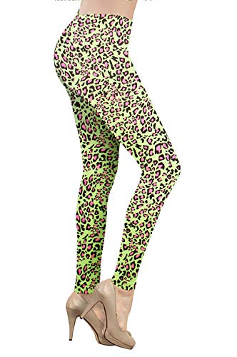 Smile fish Women's Neon Leggings Seamless Stretchy Tights for 80s Costume Party (Leopard Green, L) (Fish Pink Leopard)