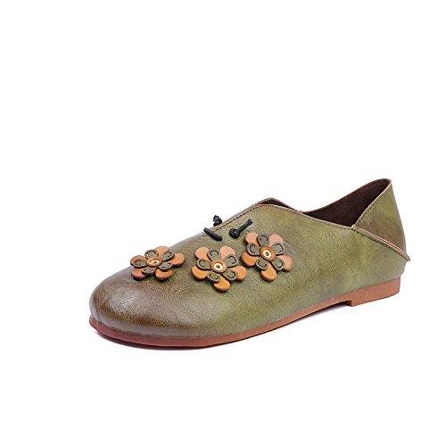 Angrousobiu Weiches Leder handgefertigt Florale Kunst Retro Damen Schuhe runden einem Kopf mit einem runden Base Anti-Slip einzelne Schuhe Frauen Die grüne aa1f99