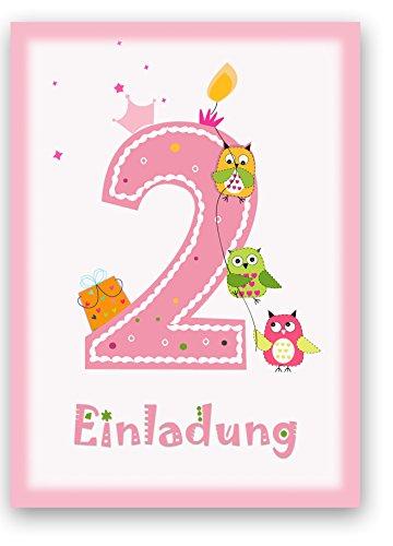 6 Einladungskarten Kindergeburtstag Zum 2. Geburtstag In Rosa Mit Eulen    Geburtstagseinladung Mit Eule Für Mädchen Kinder Party   Geburtstagsfeier:  ...