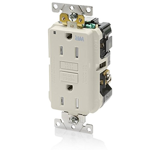 Leviton G5262-WTT 15A-125V Extra-Heavy Duty Industrial Grade Weather/Tamper-Resistant Duplex Self-Test GFCI Receptacle, Light Almond, 15-Amp