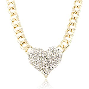 Iced Out 3D Heart Pendant with a 16 Inch Adjustable Link Necklace - Goldtone or Silvertone