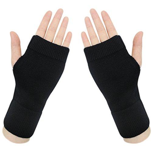 Fingerless Gloves Wrist Warmers (Lightweight Half Fingerless Mittens Thumb Hole Warm Gloves for Women)
