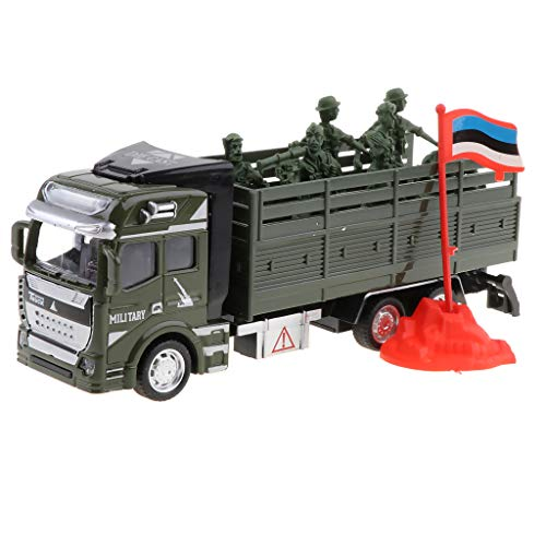 Flameer 1:48 Die-cast Metal Soldier Transport Truck Vehicle Model Pull Back Military Engineering Car Toy for Kids Adults Gift Car Collection