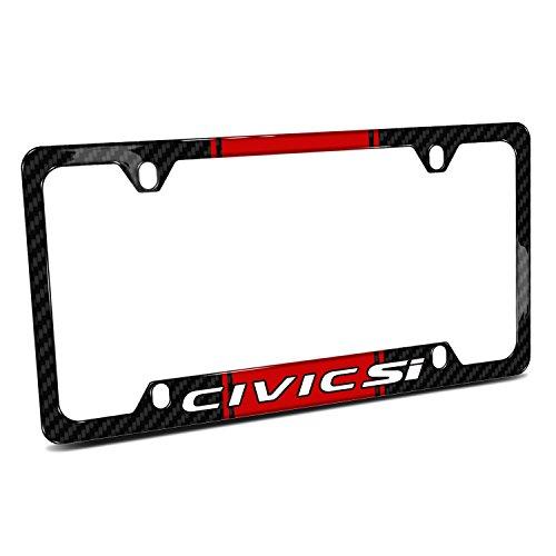 iPick Image Honda Civic Si Red Racing Stripe Black Real Carbon Fiber 50 States License Plate Frame