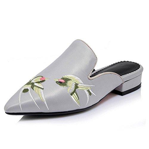 Heart&M Punto Toe tacón bajo tacón grueso de las mujeres sandalias de suela plana del bordado de los deslizadores gray