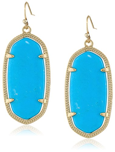 Kendra Scott Signature Elle Earrings in Gold Plated and Turquoise Color -