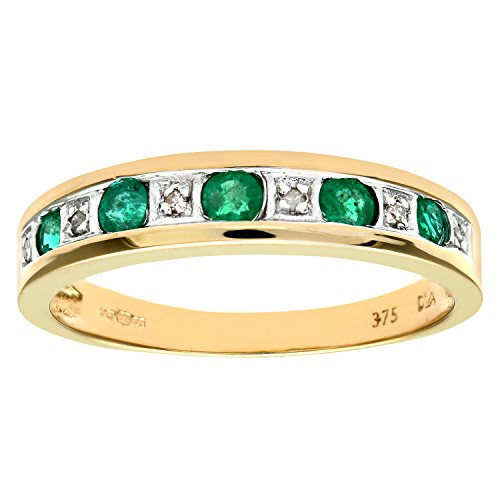 Naava Women's Eternity Ring, 9 ct Yellow Gold Diamond and Emerald Ring,...