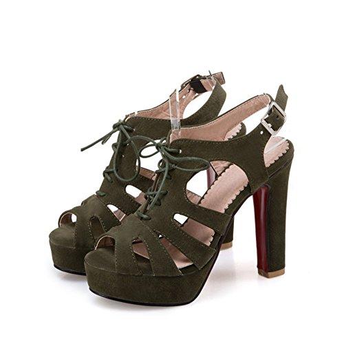 39 tamaño Tacón Zapatos Crudo de Sandalias de y Mujer Tubo tacón Sandalias Verano Sandalias de Plataforma Corto Color de Verde Hebilla Súper Primavera Impermeable de Zapatos tacón Fx4Fn7qW