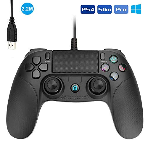 Allnice PS4 Controller Wired Controller for Playstation 4 Dual Vibration Shock Joystick Gamepad for PS4/PS4 Slim/PS4 Pro and PC(Windows 7/8 / 10) with 2.2M Long USB Cable, Black