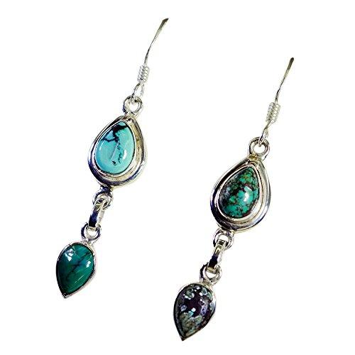 Gemsonclick Real Turquoise Silver Earrings For Women Jewelry Pear Shape Dangle December Handmade Hook