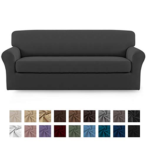 Easy-Going 2 Pieces Microfiber Stretch Sofa Slipcover - Spandex Soft Fitted Sofa Couch Cover, Washable Furniture Protector with Elastic Bottom for Kids,Pet (Sofa,Gray)
